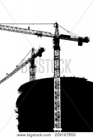 Silhouettes of cargo cranes in city on white background