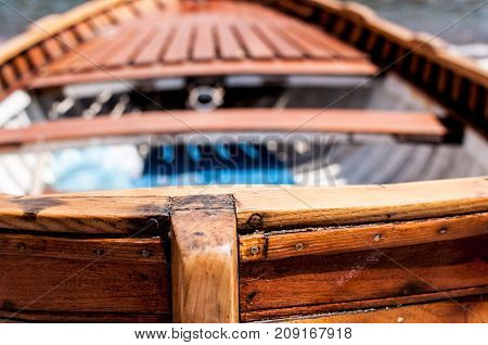 Details of a old rowboat with bokeh