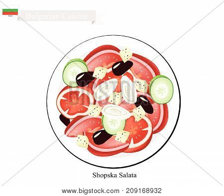 Bulgarian Cuisine, Illustration of Shopsky Salad or Shopska Salata Made of Tomatoes, Cucumbers, Olive and Feta Cheese. One of The Most Famous Dish in Bulgaria.