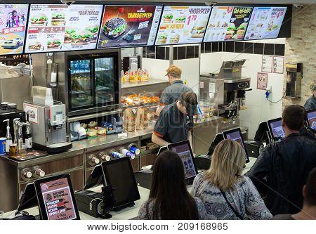 Minsk, Belarus, july 18, 2017: Burger King fast food restaurant. People order food in a restaurant Burger King