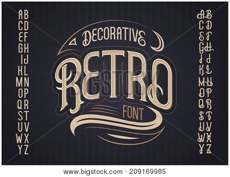 Vector retro typeface. Vector font with style effects