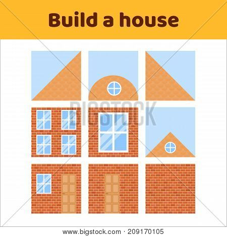 vector illustration. game for preschool kids. rebus for children. build a house. construction. puzzle