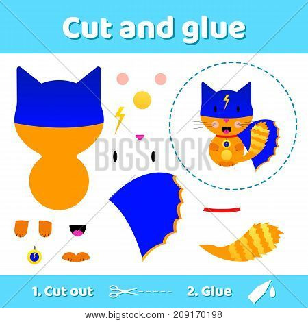 Vector illustration. Cat superhero. Education paper game for preschool kids. Use scissors and glue to create the image.