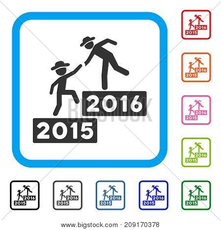 2016 Business Training icon. Flat grey iconic symbol inside a light blue rounded rectangular frame. Black, gray, green, blue, red, orange color variants of 2016 Business Training vector.