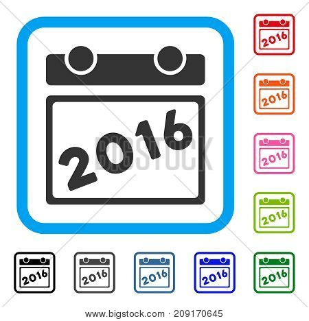2016 Calendar icon. Flat grey iconic symbol inside a light blue rounded square. Black, gray, green, blue, red, orange color versions of 2016 Calendar vector. Designed for web and app UI.