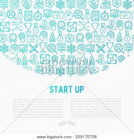 Start up concept with thin line icons of development, growth, success, idea, investment. Vector illustration for banner, web page, print media with place for text.