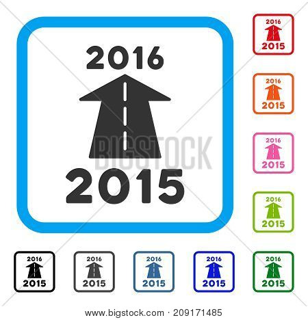 2016 Future Road icon. Flat grey pictogram symbol in a light blue rounded squared frame. Black, gray, green, blue, red, orange color variants of 2016 Future Road vector.