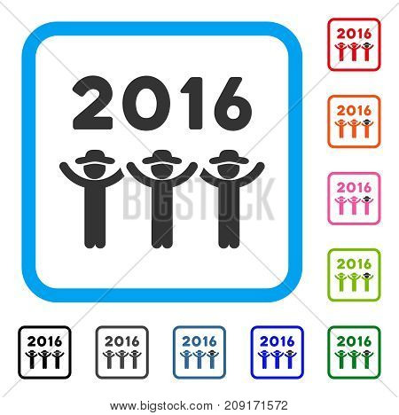 2016 Guys Dance icon. Flat grey pictogram symbol inside a light blue rounded squared frame. Black, gray, green, blue, red, orange color variants of 2016 Guys Dance vector.