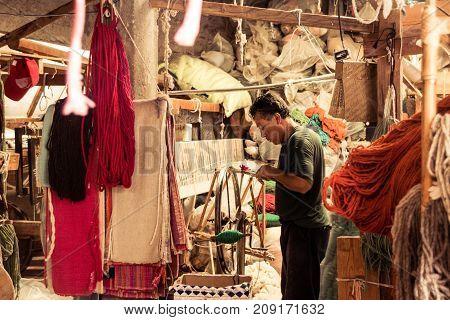 BERNAL QUERETARO / MEXICO - 06 22 2017: Traditional handicraft sewing factory