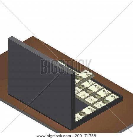 Isometric suitcase full of money. - stock vector