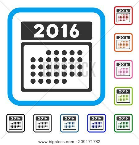 2016 Month Calendar icon. Flat grey pictogram symbol in a light blue rounded rectangular frame. Black, gray, green, blue, red, orange color versions of 2016 Month Calendar vector.