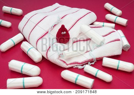 Terry towels many cotton tampons and menstrual pad for blood period hygiene. Menstruation sanitary pads and tampons. Woman critical days gynecological menstruation cycle. Hygienic concept photo