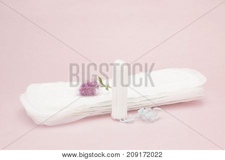 Pink flower menstrual sanitary tampon and pads. Woman critical days gynecological menstruation cycle. Menstruation sanitary woman hygiene for blood period. Hygienic conceptual photo poster
