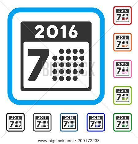2016 Week Calendar icon. Flat grey iconic symbol inside a light blue rounded squared frame. Black, gray, green, blue, red, orange color versions of 2016 Week Calendar vector.
