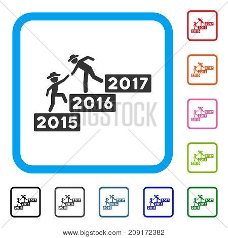 Annual Gentleman Help icon. Flat gray iconic symbol in a light blue rounded square. Black, gray, green, blue, red, orange color additional versions of Annual Gentleman Help vector.