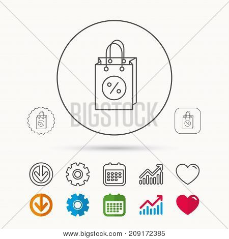Shopping Bag Icon. Sale And Discounts Sign. Supermarket Handbag Symbol. Calendar, Graph Chart And Co