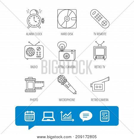 Microphone, video camera and photo icons. Alarm clock, retro radio and TV remote linear signs. Report file, Graph chart and Chat speech bubble signs. Laptop and Calendar web icons. Vector