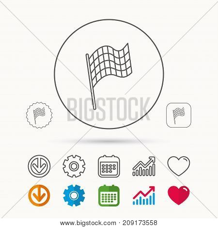 Finish flag icon. Start race sign. Calendar, Graph chart and Cogwheel signs. Download and Heart love linear web icons. Vector