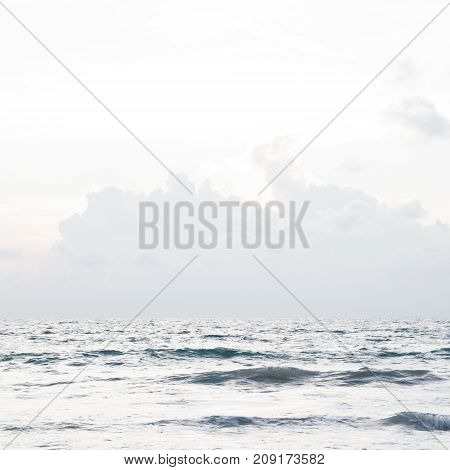 Atlantic Ocean.the Atlantic Ocean On A Cold Morning: Blue Sky And Blue Water. Minimalist Style