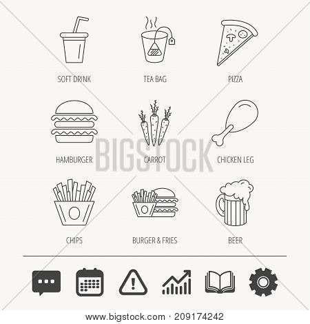 Hamburger, pizza and soft drink icons. Beer, tea bag and chips fries linear signs. Chicken leg, carrot icons. Education book, Graph chart and Chat signs. Attention, Calendar and Cogwheel web icons