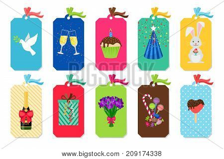 Party colorful tags with candies and gift boxes, cupcakes and party hats, champain and flowers. Vector icons collection an white background
