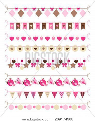 Pink colors bounting flags and hearts and birds decorative elements on white background. Vector illustration