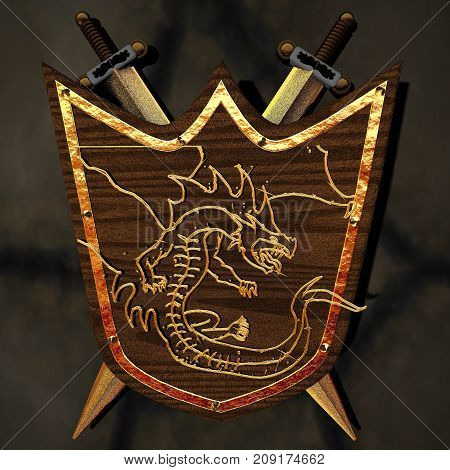 Ancient Shield With Dragon