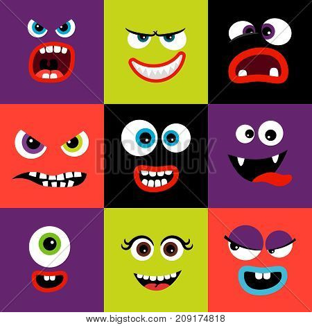 Cute and funny colorful monster faces set in square shape, vector illustration