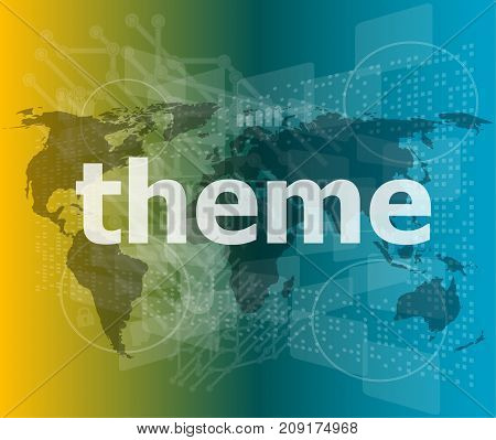 Theme Word, Backgrounds Touch Screen With Transparent Buttons. Concept Of A Modern Internet