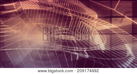 Technology Abstract with Binary Data Moving as Art 3D Illustration Render