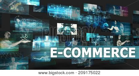 E-commerce Presentation Background with Technology Abstract Art 3D Illustration Render