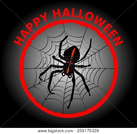 Halloween banner with cute black spider crusader in cobweb. Impressive combination of black red and white Vector EPS 10