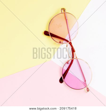 Minimal Style. Minimalist Fashion Photography. Fashion Sunglasses. Summer Is Coming Concept. Pink Gl