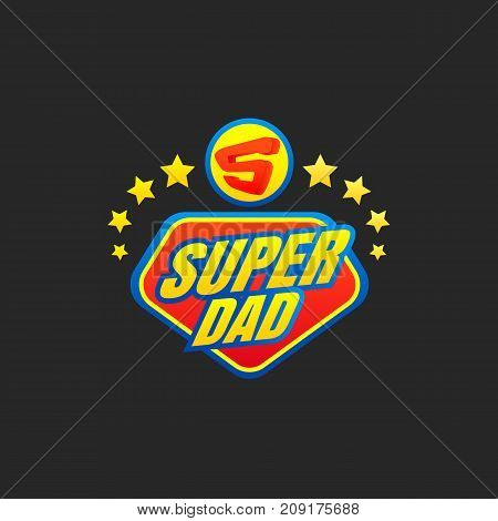 Super Dad emblem. Super hero logo. Vector illustration