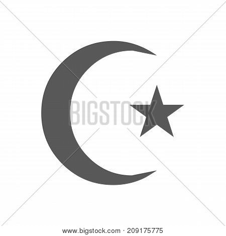 Islamic crescent moon icon. Vector simple illustration of islamic crescent moon icon isolated on white background