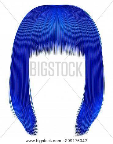 trendy hairs dark blue colors . kare fringe . beauty fashion