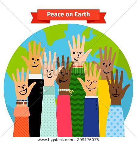 Peace concept vector illustration with different peoples hands raised against the world map