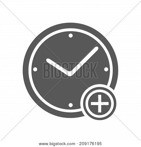 Time plus icon. Vector simple illustration of time plus icon isolated on white background