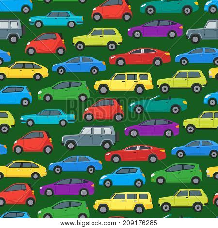 Cartoon Cars Background Pattern on a Green Hatchback, Universal and Sedan. Vector illustration of Car