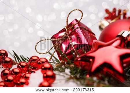 Christmas Composition Of Christmas Tree Toys On A Silver Background