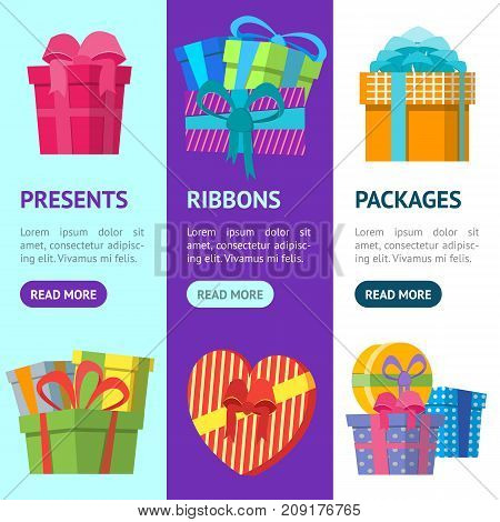 Cartoon Color Gift Boxes Banner Vecrtical Set Flat Style Design Elements for Celebration or Holiday. Present Birthday Card Vector illustration
