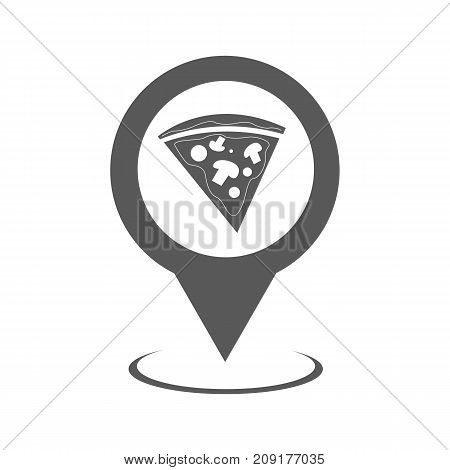 Pizza map pointer icon. Simple illustration of pizza map pointer vector icon black isolated on white background
