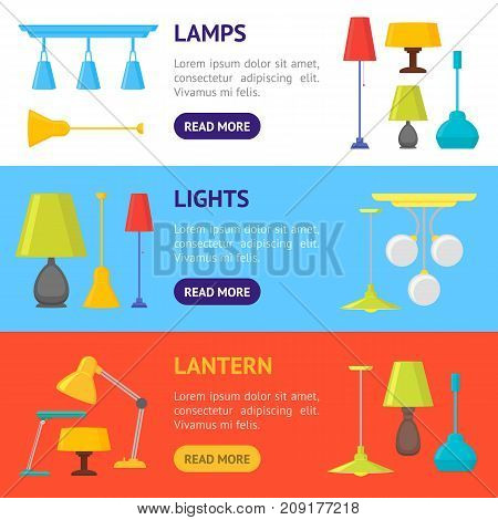 Cartoon Home Illumination Lamp Banner Horizontal Set Flat Style Design Elements for Interior. Vector illustration