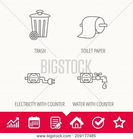 Trash bin, electricity and water counter icons. Toiler paper linear sign. Edit document, Calendar and Graph chart signs. Star, Check and House web icons. Vector