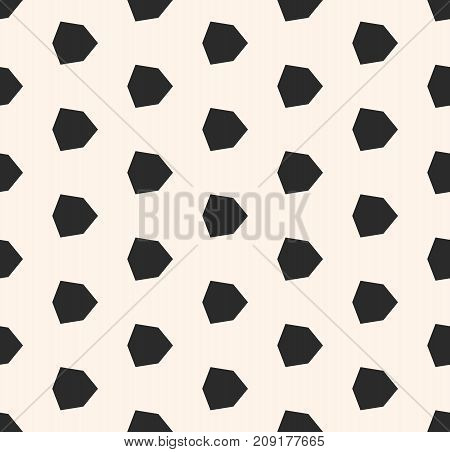 Vector geometric seamless pattern with small diamond shapes, angular, hexagonal figures. Simple abstract monochrome background. Black and white repeat texture. Design for decor, prints, fabric, cloth.