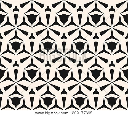 Vector geometric seamless pattern with edgy triangular shapes, hexagonal grid. Simple abstract monochrome ornament texture. Modern repeat background. Design for decor, fabric, digital, web, printing. Hexagonal background. Ornamental background.
