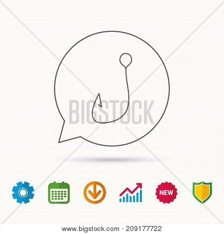 Fishing hook icon. Fisherman equipment sign. Angling symbol. Calendar, Graph chart and Cogwheel signs. Download and Shield web icons. Vector
