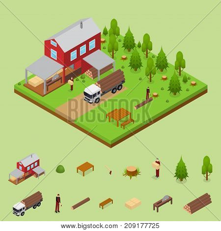 Lumberjack and Sawmill Building with Elements Isometric View Logging Transport, Workers and Woodcutte witch Equipment. Vector illustration