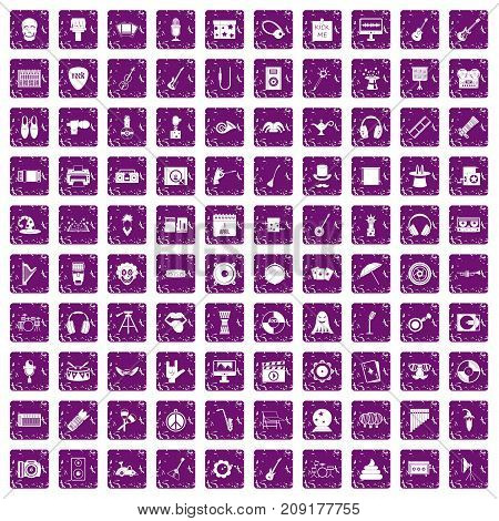 100 show business icons set in grunge style purple color isolated on white background vector illustration