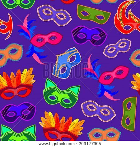 Cartoon Carnival Mask Background Pattern Flat Style Design Elements for Celebration Party or Holiday . Vector illustration